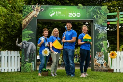 Staff at the zoo entrance
